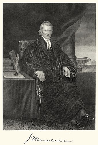 Chief Justice John Marshall. The man who knit together the structure of the Supreme Court as we know it, out of whole cloth: opednews.com/articles/Let-s-Hear-it-for-Original-by-Steven-Jonas-Confirmation_Congress_Fascism_Government-200922-612.html, From WikimediaPhotos
