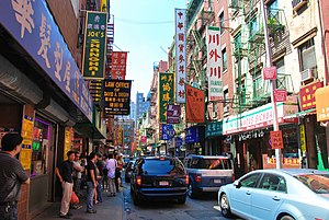 Manhattan Chinatown, home to the highest concentration of Chinese people in the Western Hemisphere. Chinese is the fastest-growing nationality in the state.