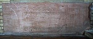 Christ Church, Birmingham - Foundation stone, now in St Agatha's Church, Sparkbrook