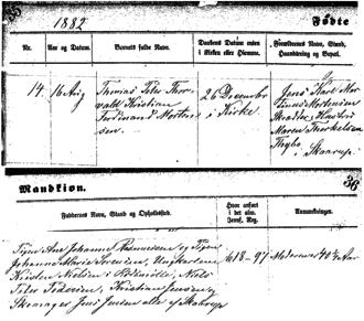 Christian Mortensen - Birth record of Christian Mortensen