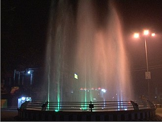 Golaghat - Fountain display under pale lighting