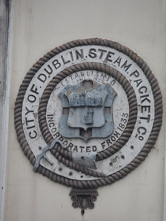 City of Dublin Steam Packet Company - City of Dublin Steam Packet Company logo, still visible on a wall on Eden Quay.