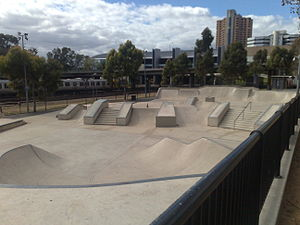 City Sk8 Park, Adelaide - The skate park from the North-Eastern corner.