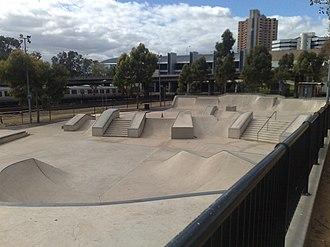 City Sk8 Park, Adelaide - The skate park from the North-Eastern corner.