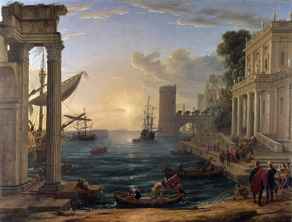 Claude Lorrain - Seaport with the Embarkation of the Queen of Sheba - WGA05002.jpg