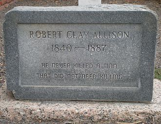 Clay Allison - An additional tombstone placed at Allison's grave in Pecos, Texas