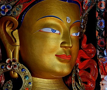 Close up of Maitreya Buddha at Thiksey Monastery