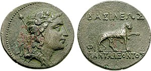 Pantaleon - Image: Coin of Greco Baktrian Kingdom king Pantaleon