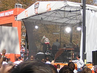 College GameDay (football) - At Virginia Tech in November 2005, Corso picks Miami to upset the Hokies. Note the head of Sebastian the Ibis.