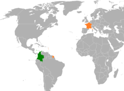 Map indicating locations of Colombia and France