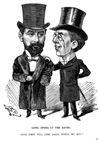 Grossmith comforts Carte after failure of The Grand Duke