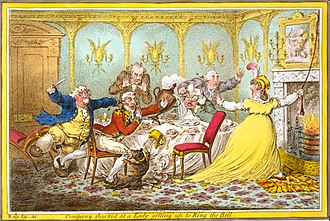 "Etiquette - In Company Shocked at a Lady Getting up to Ring the Bell (1805) James Gillray caricatured  ""A widow and her suitors, who seem to have forgot their manners in the intensity of their admiration."""