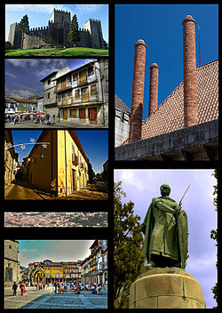 Clockwise frae tap left: Guimarães Castle,  a chimney at the Duke o Braganza's Palace, statue o Dom Afonso Henriques at the Ducal Palace, Oliveira Plaza, panoramic view o Guimarães heestorical heritage aurie frae Moont Penha, Santa Maria Street, Santiago Plaza