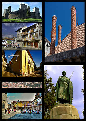 Guimarães - Clockwise from top left: Guimarães Castle,  a chimney at the Duke of Braganza's Palace, statue of Dom Afonso Henriques at the Ducal Palace, Oliveira Plaza, panoramic view of Guimarães historical heritage area from Mount Penha, Santa Maria Street, Santiago Plaza