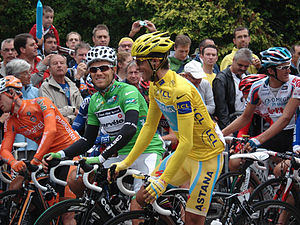 2010 Tour de France - Alberto Contador in the start of the stage 17 in Pau