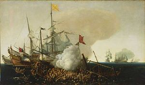 Battle of Cape Corvo - Spanish Men-of-War Engaging Barbary Pirates, painting of 1615 by Cornelis Vroom.