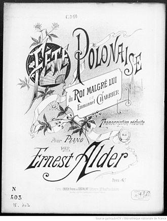 Le roi malgré lui - Cover of transcription of the Fête polonaise