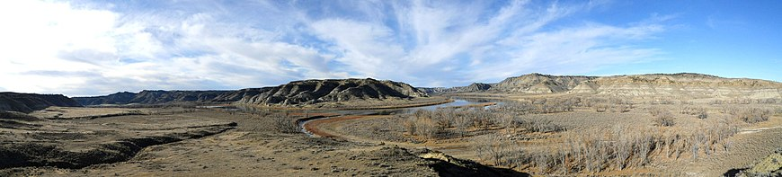 Cow Creek flows into Missouri, near Cow Island in Missouri Breaks, Blaine County, Montana.JPG
