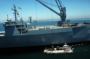 Algol-class vehicle cargo ship - Cranes aboard the vehicle cargo ship USNS ALTAIR (T-AKR 291) lower equipment to an LACV-30 air cushion vehicle during Exercise GALLANT EAGLE 86