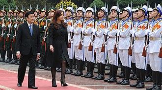 Trương Tấn Sang - Trương Tấn Sang and Cristina Fernández in Hanoi