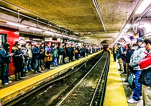 Rush hour - Crowded platforms in Boston's Park Street station during rush hour