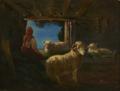 Curral com ovelhas e pastora - Tomás da Anunciação.png