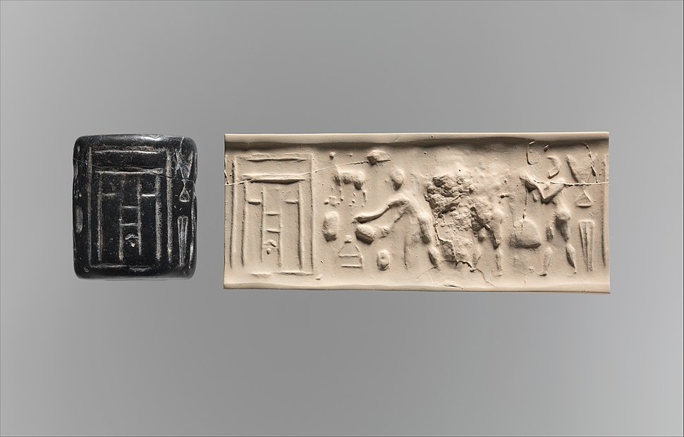 Cylinder seal and modern impression- ritual scene before a temple facade MET DP270679