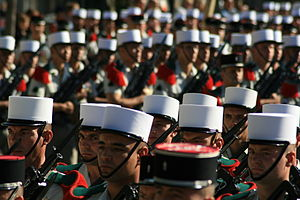History of the French Foreign Legion -  Modern-day members of the French Foreign Legion in parade formation.
