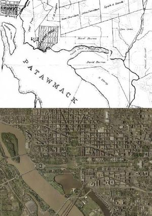 Tiber Creek - Tiber/Goose Creek around 1800, and the modern shorelines of the Potomac River.