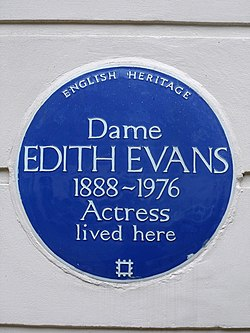 Dame edith evans 1888 1976 actress lived here