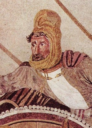 Darius III - Detail of Darius III from the Alexander Mosaic