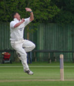 Bowler Darren Gough winds up to deliver a ball