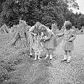 De prinsessen Beatrix, Irene, Margriet en Christina aan het wandelen in het park, Bestanddeelnr 255-7542.jpg