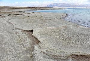 Dead Sea - Halite deposits (and teepee structure) along the western Dead Sea coast.
