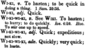 Definition of 'wiki' in Andrews' Hawaiian dictionary (1865).png