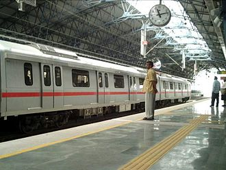 Standard of living in India - Pictured here, is the New Delhi Metro, operational since 2002 and seen as a model for other metros.