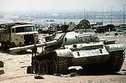 Destroyed Iraqi T-55 on highway between Basra & Kuwait City 1991-04-18 1