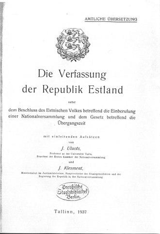 Politics of Estonia - German translation of the Constitution of the Republic of Estonia