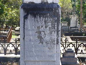 South Brisbane Cemetery - Digby Denham headstone, 2010