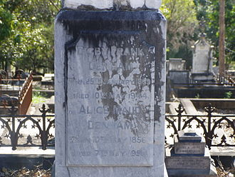 Digby Denham - Digby Denham's headstone at Brisbane's South Brisbane Cemetery.