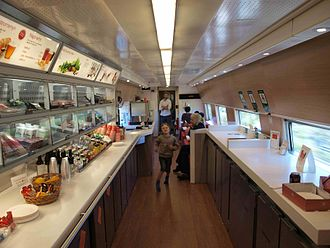 Buffet car - Swedish X2000 train buffet cars are mostly self-service. Customers pick their food from a shelf, pay for it, and heat it themselves in a microwave oven
