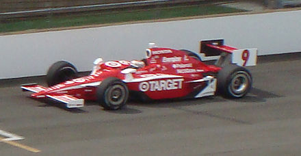 Scott Dixon makes his pole-winning qualification run for the 2008 Indianapolis 500 Dixon Pole 20080510.jpg