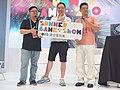 Dixon Wu, Jo Peng and Roxman Yang holding SGS logo board 20190714c.jpg