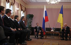 Dmitry Rogozin - Rogozin, Russian PM Dmitry Medvedev and Ukrainian PM Mykola Azarov, June 27, 2012