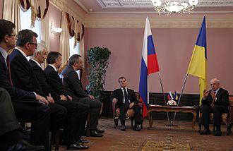Dmitry Rogozin - Rogozin, Russian PM Dmitry Medvedev and Ukrainian PM Mykola Azarov, June 27, 2012