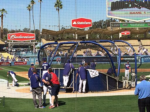 The Dodgers take batting practice prior to the 2014 NLDS against the Cardinals