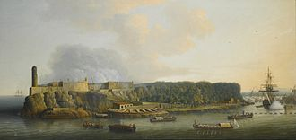 56th (West Essex) Regiment of Foot - Morro Castle before the British attack, 30 July 1762 by Dominic Serres