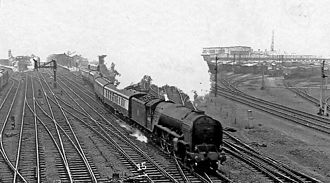 Doncaster railway station - Down Express departing in 1957
