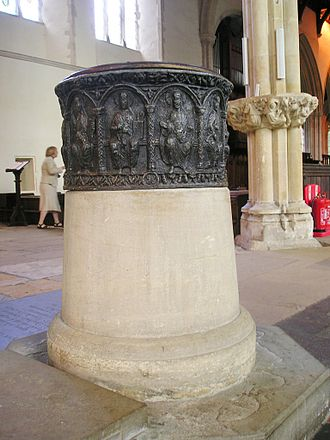 Dorchester Abbey - The Norman leaden baptismal font, 12th century