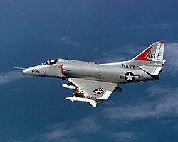 Douglas A-4E Skyhawk of VA-164 in flight over Vietnam on 21 November 1967 (6430101).jpg